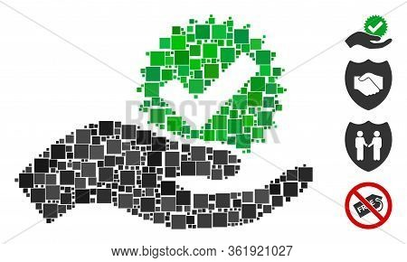Collage True Bonus Icon Constructed From Square Items In Different Sizes And Color Hues. Vector Squa