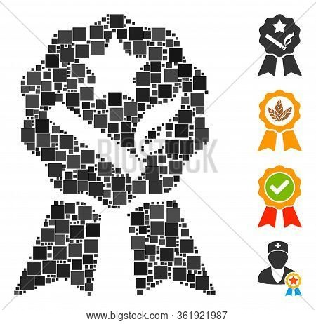 Collage Best Tobacco Icon United From Square Elements In Random Sizes And Color Hues. Vector Square