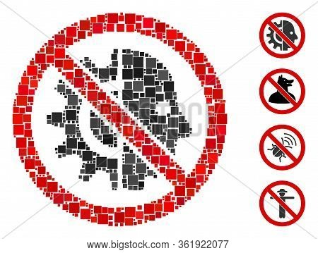 Mosaic No Cyborgs Icon Constructed From Square Items In Variable Sizes And Color Hues. Vector Square