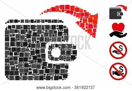 Collage Spend Money Icon United From Square Items In Different Sizes And Color Hues. Vector Square I