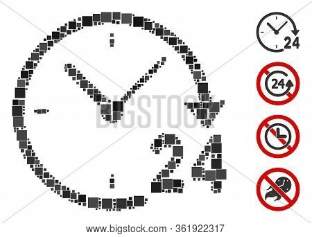 Mosaic 24 Hours Clock Icon Organized From Square Items In Various Sizes And Color Hues. Vector Squar