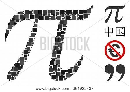 Collage Pi Symbol Icon Constructed From Square Elements In Various Sizes And Color Hues. Vector Squa