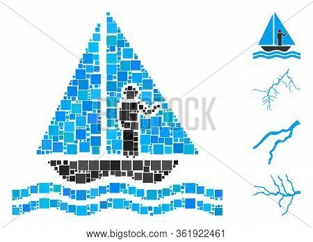 Collage Aboard Yacht Icon Designed From Square Elements In Different Sizes And Color Hues. Vector Sq