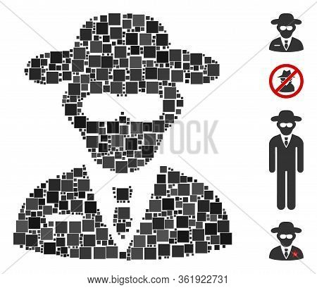 Collage Secure Agent Icon United From Square Items In Variable Sizes And Color Hues. Vector Square I