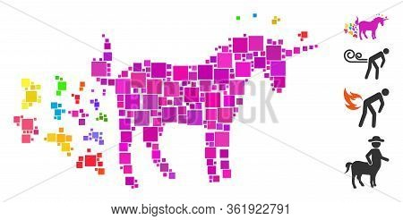 Mosaic Unicorn Farting Butterflies Icon Composed Of Square Elements In Various Sizes And Color Hues.