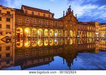 Night View Of Republic Square (praca Da Republica) In Braga City, Portugal. Exterior Of Arcada (or L
