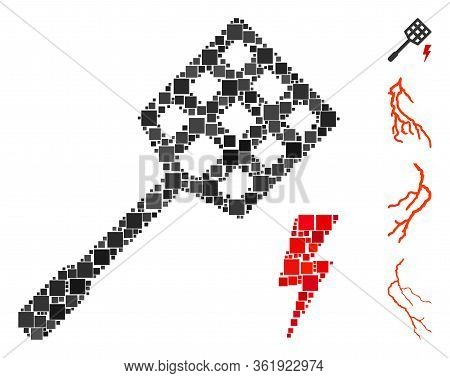 Collage Electric Fly Killer Icon Constructed From Square Items In Variable Sizes And Color Hues. Vec