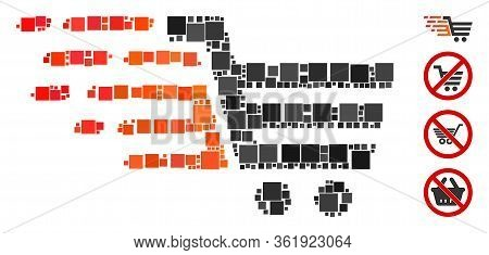 Mosaic Rush Shopping Cart Icon Designed From Square Items In Variable Sizes And Color Hues. Vector S