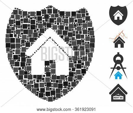Collage Realty Insurance Icon Designed From Square Elements In Variable Sizes And Color Hues. Vector