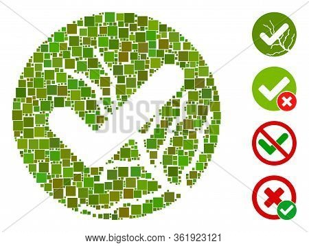 Mosaic Corrupted Trust Icon Organized From Square Items In Variable Sizes And Color Hues. Vector Squ
