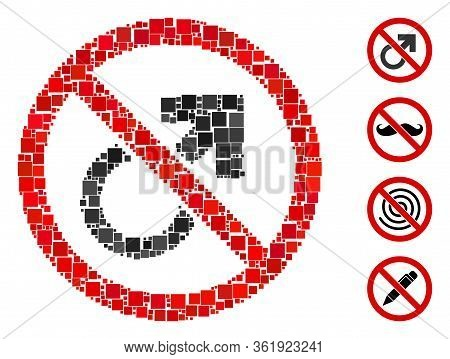 Collage No Male Symbol Icon Organized From Square Elements In Random Sizes And Color Hues. Vector Sq