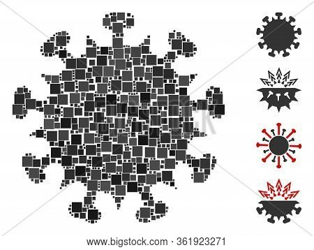 Collage Sars Virus Icon Constructed From Square Items In Various Sizes And Color Hues. Vector Square