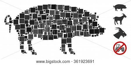 Mosaic Swine Icon Designed From Square Items In Various Sizes And Color Hues. Vector Square Items Ar