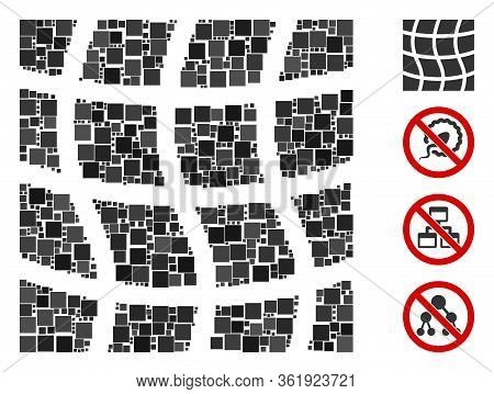 Mosaic Mesh Square Icon Designed From Square Items In Various Sizes And Color Hues. Vector Square It