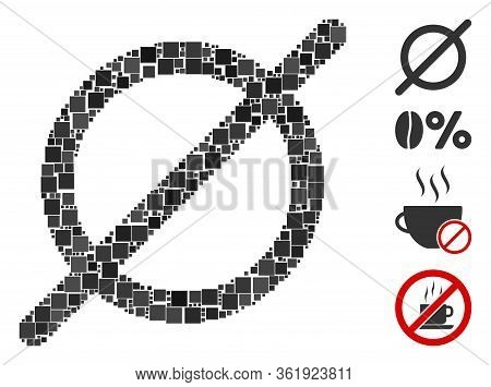 Mosaic Nothing Icon Composed Of Square Items In Random Sizes And Color Hues. Vector Square Items Are