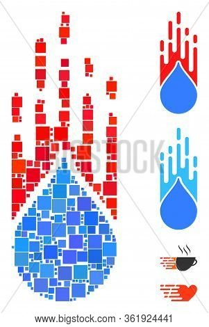 Collage Rush Drop Icon Designed From Square Elements In Various Sizes And Color Hues. Vector Square