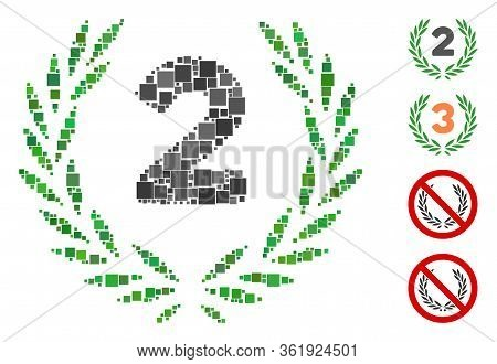 Collage Second Laurel Wreath Icon Organized From Square Elements In Random Sizes And Color Hues. Vec