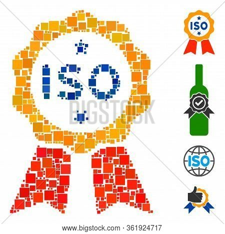 Mosaic Iso Certified Icon United From Square Elements In Different Sizes And Color Hues. Vector Squa