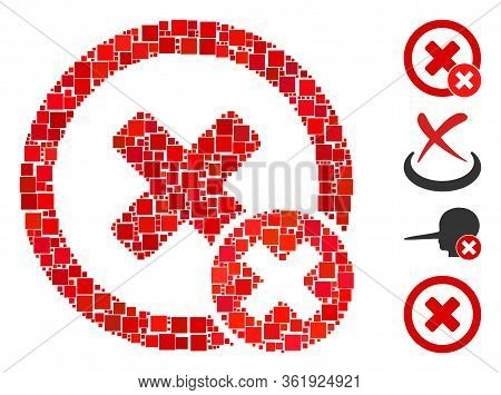 Mosaic False Negative Icon Designed From Square Items In Various Sizes And Color Hues. Vector Square
