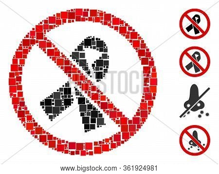 Mosaic No Mourning Ribbon Icon United From Square Elements In Various Sizes And Color Hues. Vector S