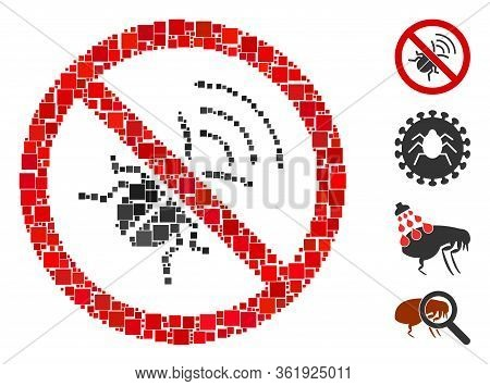 Collage No Spy Bug Icon Designed From Square Elements In Variable Sizes And Color Hues. Vector Squar