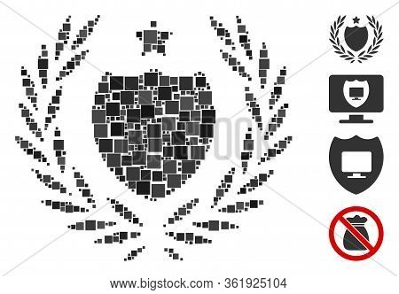 Collage Official Insurance Shield Icon United From Square Elements In Different Sizes And Color Hues