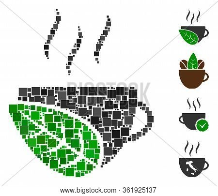 Collage Organic Coffee Cup Icon Constructed From Square Elements In Variable Sizes And Color Hues. V