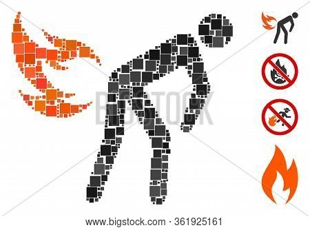 Collage Fire Farting Icon Composed Of Square Items In Various Sizes And Color Hues. Vector Square It