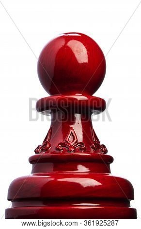 Wooden Chess Pawn In Red With White Background