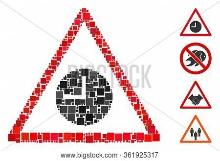 Collage Expired Warning Icon Composed Of Square Elements In Variable Sizes And Color Hues. Vector Sq