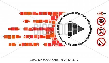 Collage Rush Play Symbol Icon Organized From Square Items In Variable Sizes And Color Hues. Vector S