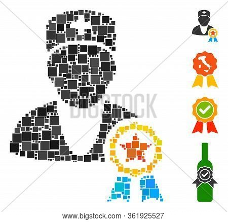 Mosaic Recommended By Doctors Icon Organized From Square Elements In Different Sizes And Color Hues.