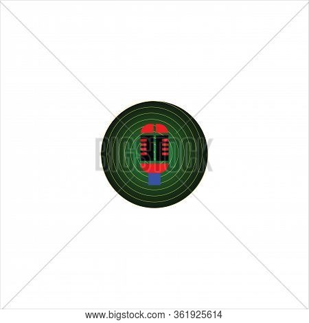 Isolated Microphone Icon Against A Gradual Green Spiral Background. Microphone Icons In A Trendy Des