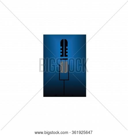 Isolated Microphone Icon With A Black Background In Blue Gradation. Microphone Icons In A Trendy Des