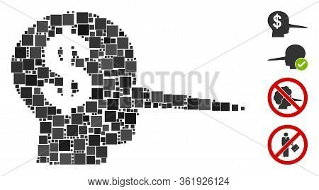 Mosaic Financial Scammer Icon Composed Of Square Items In Various Sizes And Color Hues. Vector Squar