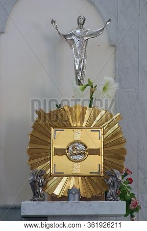 LASINJA, CROATIA - JUNE 21, 2011: Tabernacle in the church of St. Anthony of Padua and Virgin Mary Queen of the Martyrs in Lasinja, Croatia