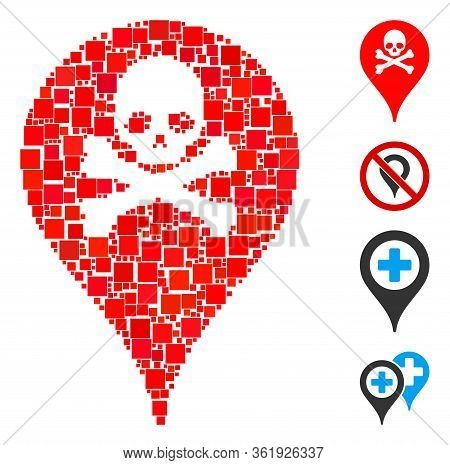 Mosaic Danger Zone Map Marker Icon Designed From Square Items In Different Sizes And Color Hues. Vec