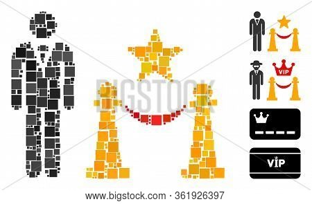 Collage Prestige Entarnce Icon Constructed From Square Items In Various Sizes And Color Hues. Vector