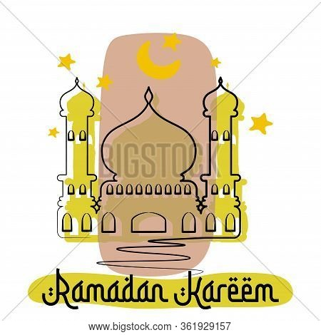 Linear Art Of Arabic Geometric Art. Islamic Mosque And Crescent Moon. Ramadan Kareem - Glorious Mont