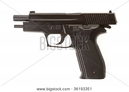 Empty Semi-automatic Gun Isolated