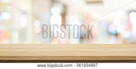 Wood Table Background And Blur Background, Empty Wooden Counter, Shelf Surface Over Blur Restaurant