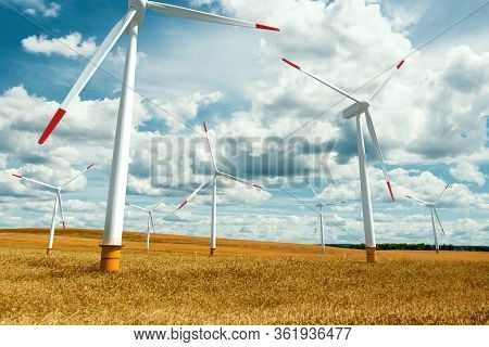 Windmills Stand In, Clean Energy Alternative Energy Wind Power. Technology Concept, Renewable Energy