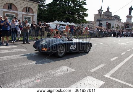 Brescia, Italy - May 19 2018: O.s.c.a. Mt4 1350 2ad 1952 Is An Old Racing Car In Rally Mille Miglia