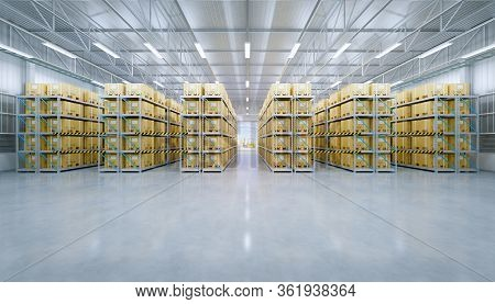 3d Rendering Of Warehouse Building And Box Packaging In Shelf.