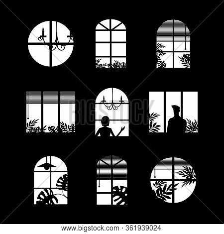 Collection Of Windows Silhouette Of Various Designs Isolated. Windows Light City At Night. Vector Il