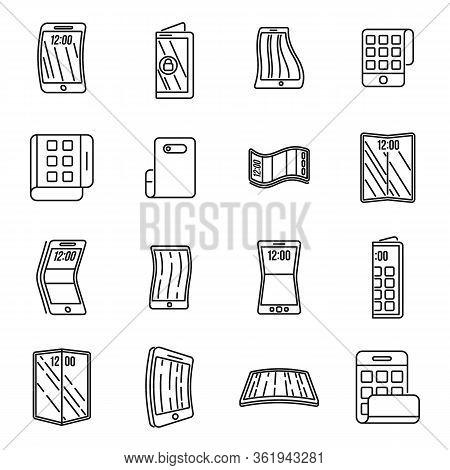 Gadget Flexible Screen Icons Set. Outline Set Of Gadget Flexible Screen Vector Icons For Web Design