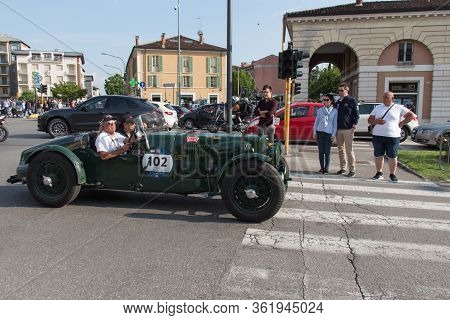 Brescia, Italy - May 19 2018: Aston Martin Ulster 1935 Is An Old Racing Car In Rally Mille Miglia 20