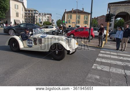 Brescia, Italy - May 19 2018: Riley Sprite 1936 Is An Old Racing Car In Rally Mille Miglia 2018, Liv