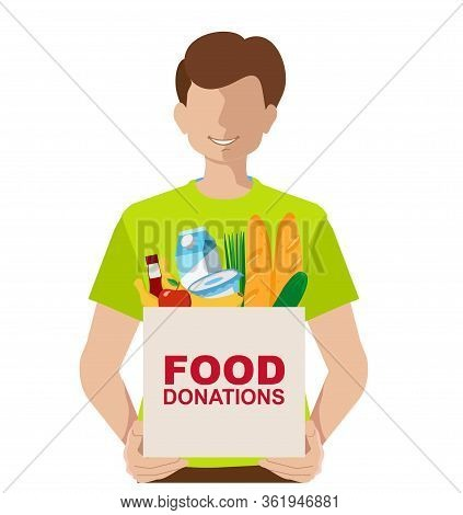 Young Volunteer With Food Donation Donation Box. Vector Concept Illustrations. Donation Box. Donatio