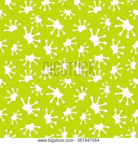 The Seamless Pattern With Colored Frogs Footprints. Frog S Footprint On A Green Background.
